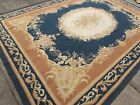 Old Hand Made French Design Wool 12x9 Brown Blue Original Aubusson 368X268cm