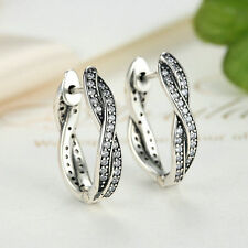Authentic 925 Sterling Silver Cubic Zirconia Infinite Love Dangle Hoop Earring