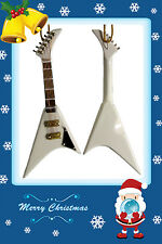 """🎁GREAT GIFT🎁 Miniature White Flying V Electric Guitar Christmas Ornament 5"""""""