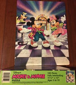 Vintage Disney Mickey & Minnie Mouse 100 Piece Puzzle Complete Jukebox Dance