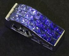 Parle designer signed 14K white gold 3.25CT Blue sapphire slide pendant