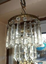 VICTORIAN SMALL TWO TIER CUT GLASS CHANDELIER WITH DECORATIVE SPEARS COMPLETE