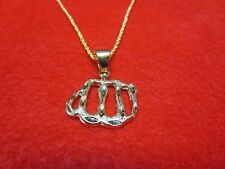 """14Kt Gold Plated Small Allah Script Charm Pendant & 16"""" Rope Chain Was $13.99"""