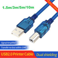 USB 2.0 Printer Cable Type A to B Male High Speed Scanner Data Cord 1.5M to 10M