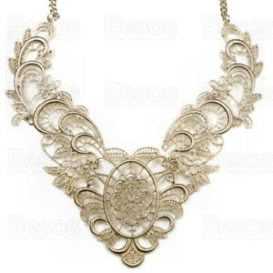 STATEMENT NECKLACE antique style VINTAGE STYLE pale gold tone metal COLLAR gift