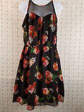 Juniors Geri C. Sheer Lined Knee Length Sleeveless Dress Black Floral Size Large