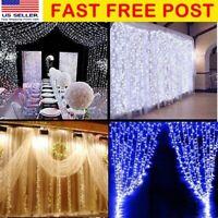 6M 600 LEDs Solar Curtain Fairy String Lights Wedding Xmas Valentine Copper Lamp