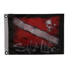 "Salt Life Dive & Skull Flag / Large 24"" x 36"" Black & Red Slb2005 Scuba Diving"