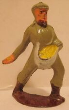 """Antique Metal Toy Figure Farmer Man Planting / Sowing Seeds 2 7/8"""" Manoil 1930s"""