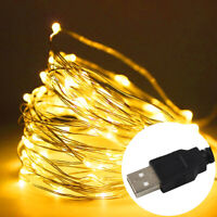 20/50/100 LED Copper Wire String USB Fairy Light Strip Lamp Xmas Party Indoor