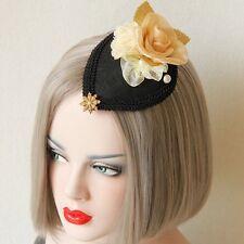 Black Fascinator Hair Accessory Vintage Racing Spring Carnival Cup Day Felt