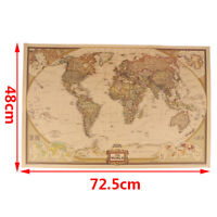 World Map Vintage  Matte Paper Kraft Antique Poster Wall Sticker Home Decor IJD)
