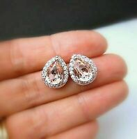 2.00 Ct Pear Unique Cut Morganite Diamond Halo Stud Earrings 14K Rose Gold Over