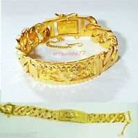 22K 23K 24K THAI BAHT YELLOW GOLD GP  Bracelet 7.5 inch 52 Grams
