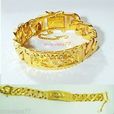 Men's 22K 23K 24K THAI BAHT YELLOW GOLD GP Bracelet 7.75 inch 64 Grams