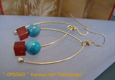 "Silber Ohrhänger Karneol Türkiskugeln       ""OPDIGO""  Opal, Diamant, Gold"