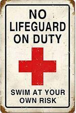 Stahl Metall Schild No Lifeguard on duty - Blechschild verrostet (pst 1812)