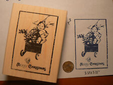 "Merry Christmas rubber stamp WM antique image 3.25x2.25"" P18"