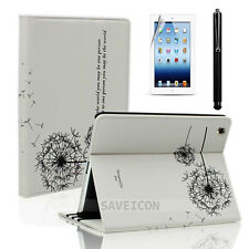 For iPad 4 4th 3&2 Retina Display Leather Folio Case Cover Stand Dandelion White