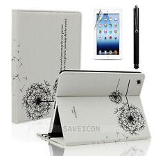 For iPad 4 4th 3&2 Retina Display Leather Folio Case Cover Stand Dandelion White