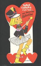 "Vintage Childs Valentines Day Card Band Majorette ""Three Cheers"" UnUsed"