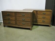 PAIR Vintage Asian Style 6 Drawer Dressers By Davis; Solid Ash, Teak Finish