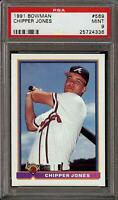 1991 Bowman #569 HOF Chipper Jones Braves RC Rookie PSA 9 MINT QTY Available