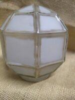 Antique Arts & Crafts Porch Light Frosted glass Globe Mission Deco geometric U-Y