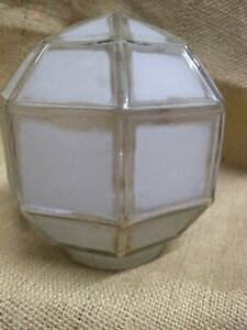 Antique Arts & Crafts Porch Light Frosted glass Globe Mission Deco geometric U-Y