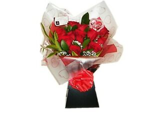 FRESH FLOWERS Delivered UK Premium Red Rose Bouquet Free Flower Delivery