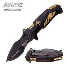 Spring-Assisted Folding Pocket Knife Mtech Black Gold Special Forces Tactical
