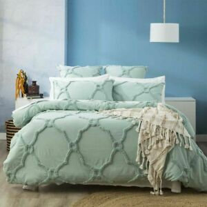Renee Taylor Moroccan Cotton Chenille Tufted Quilt Cover Set-Sage