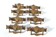 8 GORGEOUS ANTIQUE BRONZE/BRASS STAG FIGURAL FURNITURE DRAWER PULLS RARE