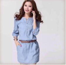 DENIM DRESS WITH BELT JLH Light  Blue