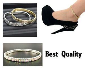 Elasticated Ankle Bracelet Stretchy 2 Rows Anklet Chain Diamante Rhinestones