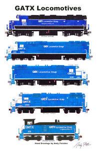 "GATX Locomotives 11""x17"" Poster by Andy Fletcher signed"