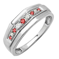 Sterling Silver Round Ruby & White Diamond Men's Wedding Band (Size 11.5)