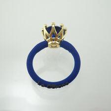 LE CORONE anello classic pietra blu castone argento 925 dorato gambo blu