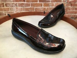 Clarks Bayou Brown Tortoise Patent Leather Comfort Loafers 6.5W New