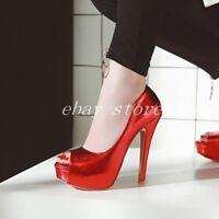Women's Peep Toe Nightclub Sexy Platform High Heels Court Shoes Pumps Stilettos