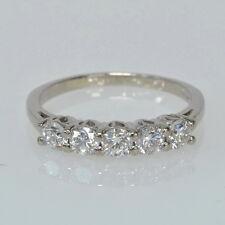 Ladies 18k White Gold 3/4 Cttw Five Stone Diamond Anniversary Wedding Band Ring