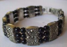 bracelet bijou rétro maillon gravé relief petite perle noir couleur argent *503