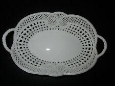 Handmade fine porcelain bread/roll pure white lace filigree basket dish