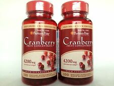 2 Puritan's Pride Cranberry Fruit Concentrate w/C & E 4200 mg Made In USA