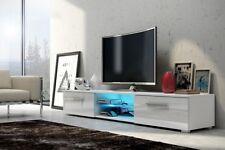 Edith Meuble TV 140cm Noir Blanc Gris Chêne Avec L éclairage LED Bleu Design
