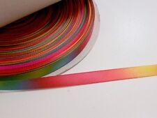 Rainbow Satin Ribbon 1/2 inch wide x 10 yards, Single-Face, Schiff Fiesta Multi