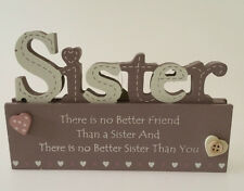 SHABBY WOODEN CHIC Sign Plaque ~ SISTER ~ Freestanding