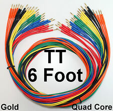 "24 Pack - TT Bantam 6 Foot Gold Quad Patch Cables 72"" New Cords Snake Leads"
