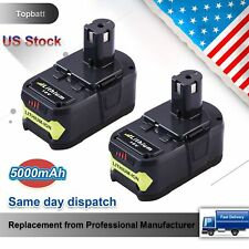 2 Pack 5.0Ah Replacement for Ryobi 18V Battery Lithium-Ion P108 ONE+ P104 P105