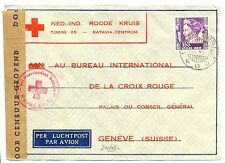 NED INDIE DUTCH INDIES 1941-1-7  RED CROSS-CENSOR PM-MALANG- TO SWITZERLAND